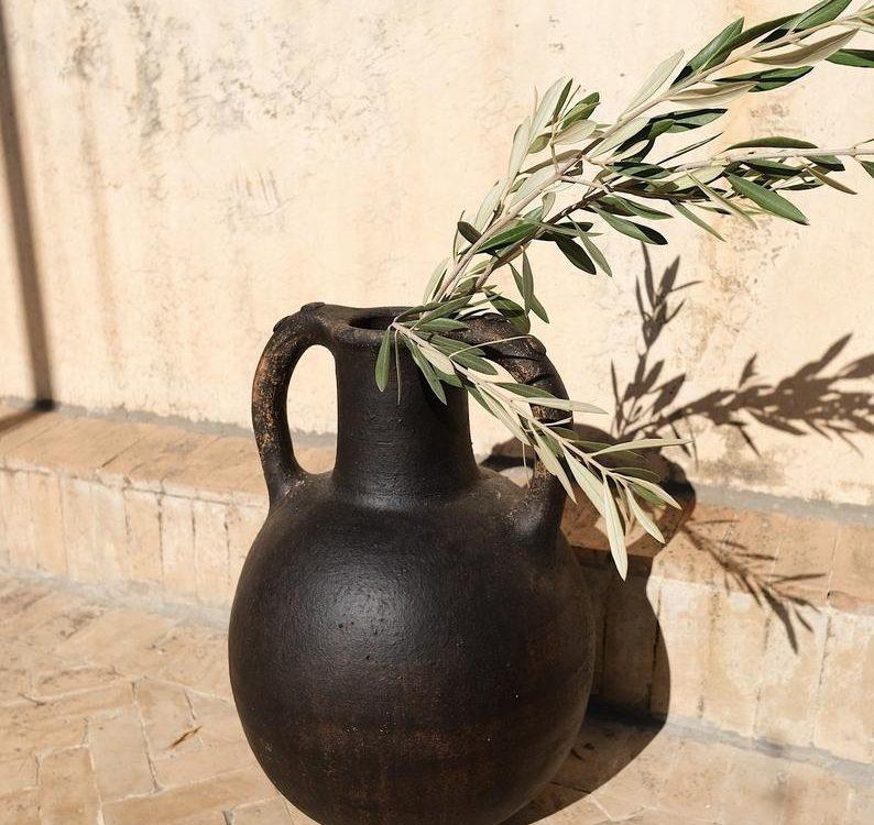 "Traditional Rif Pottery | Dark Espresso Brown | Ceramic Clay | Moroccan Berber Tribe | Large Vase | Vessel | Pitcher | 17""x 12"" | 43cmx30cm"