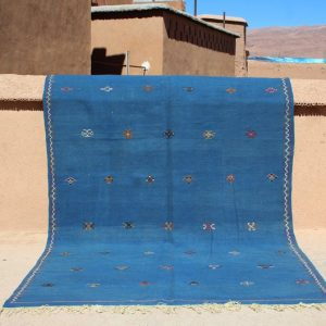 Minimalist Berber 6.7x10.4 Feet Moroccan Rug flat woven green Hanbel kilim piece of art with unique berber symbols, Akhnif rug, Hanbel kilim