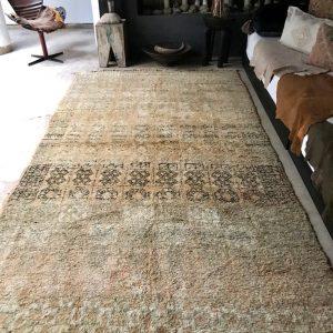 "Vintage bohemian rug , Beni Mguild carpet, wool rug, moroccan, faded, peachy, 350 x 189 cm / 11'5"" x 6'2"""