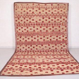 Vintage Moroccan Hassira carpet Berber mat rug, 6.9 FT X 11.9 FT