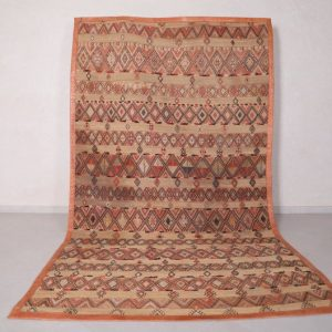 Vintage Moroccan Hassira carpet Berber mat rug, 6.2 FT X 10.8 FT