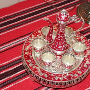 Serving Dish Tray Copper with brass Kettle With And handle kettle brass colors silver & red handmade kitchen home coffee Arabic 6 Pcs cup