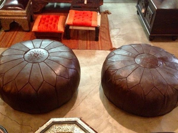 2 set of Moroccan POUF - 40% OFF - with White Stitching Leather Ottoman Pouf Moroccan Leather Pouf Moroccan Pouffe