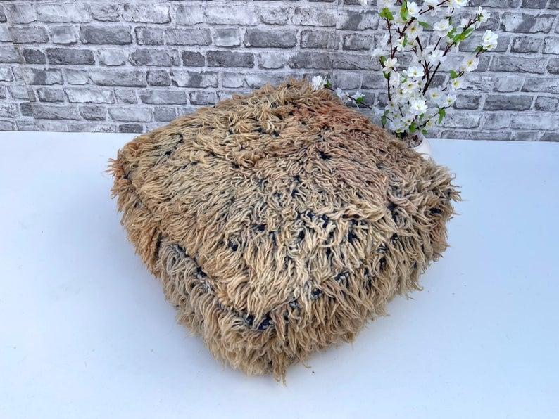 Unique Floor Cuhsion - Area Cushion Boujaad - moroccan Pouf Wool Moroccan Cushion - Handmade vintage Pouf - Beniourain Rug - old Rug