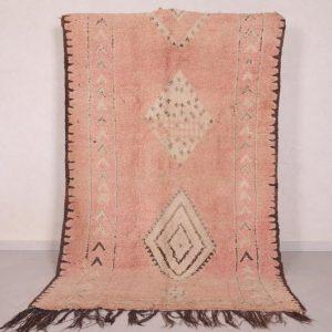 Orange Moroccan rug 5 FT X 8.1 FT - Peach rug - Moroccan berber rug - hand knotted rug - Azilal rug - Wool rug