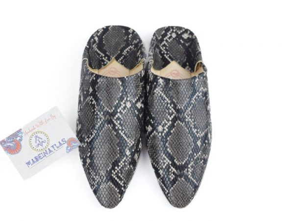 Snake Skin Moroccan shoes, Moroccan babouche, leather goods, Organic slippers, Mules shoes, Babouche, step dad gift