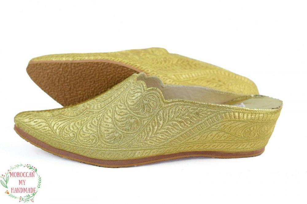 sheepskin slipper women wedding Moroccan Shoe silver moccasin embroidered mule