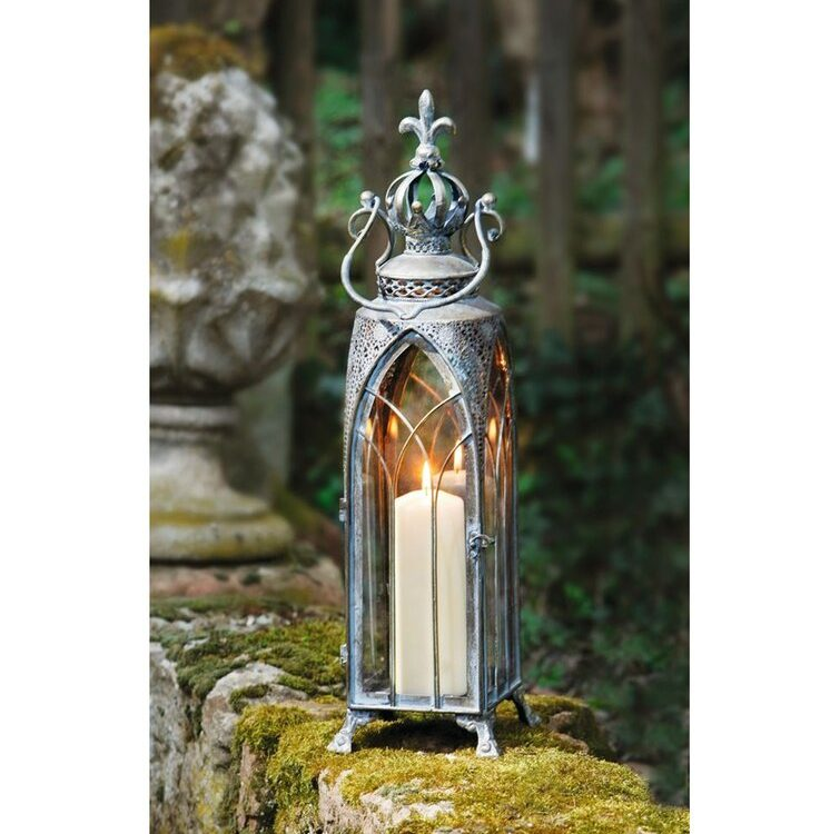 Architectural Cathedral Tall Metal/Glass Lantern