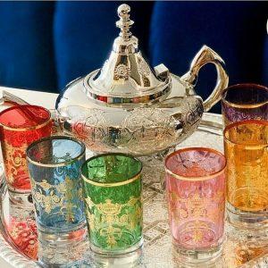 Handmade Moroccan Luxurious Tea Set, 6 Cups Tea Glasses, Teapot , Tea Tray* NEW*