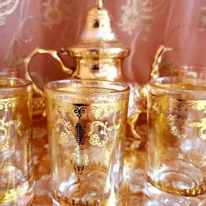 Moroccan Handmade Golden Tea Set Large TeaPot,Tea Tray,Set Of 6 Tea Cups *NEW*Moroccan Handmade Golden Tea Set Large TeaPot,Tea Tray,Set Of 6 Tea Cups *NEW*