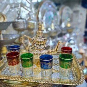 Moroccan Handmade Silver Plated Tea Set TeaPot,Tea Tray,Set Of 6 Tea Cups