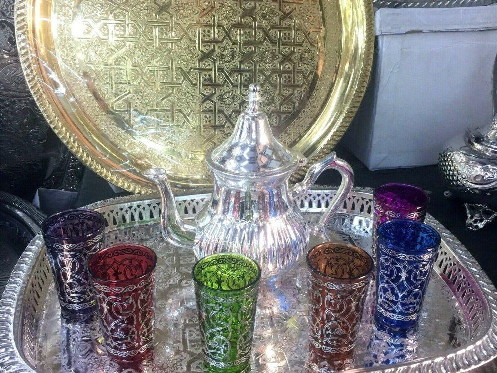 Moroccan Handmade Tea Set, 6 Cups Tea Glasses, Teapot , Tea Tray *NEW*