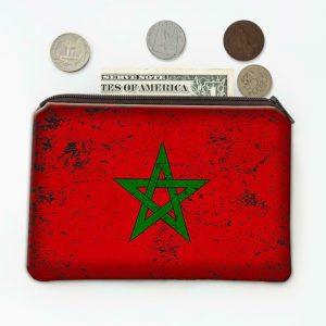 Morocco : Coin Purse Gift Flag Retro Artistic Moroccan Expat Country
