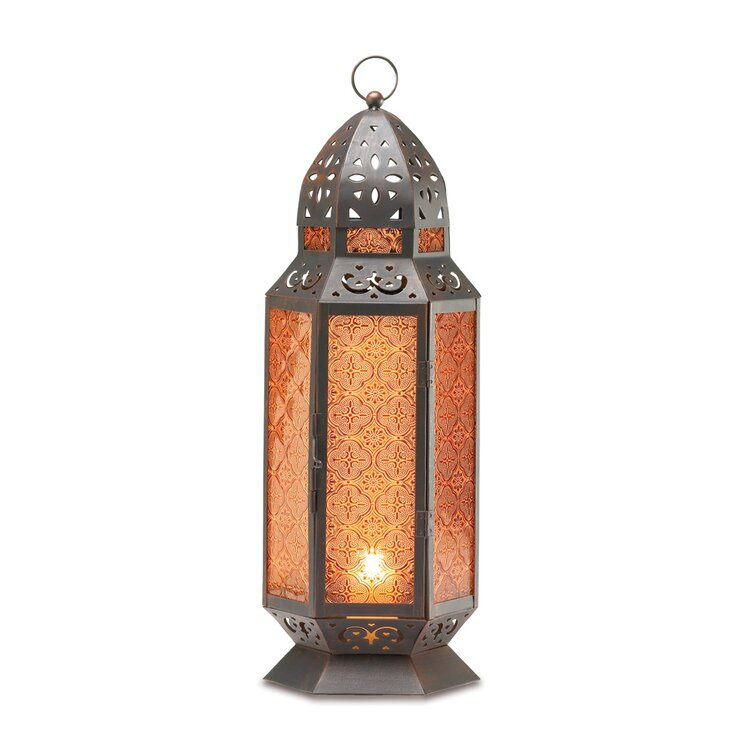 Tall Glass and Metal Lantern Moroccan Hanging Lamps