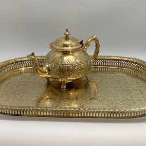 Moroccan Handmade Golden Tea Set Large TeaPot,Tea Tray,Set Of 6 Tea Cups *NEW* 5