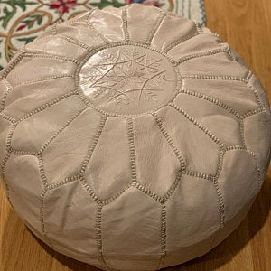 Natural Leather Moroccan Pouf - Ottoman Footstool Hassock 100% real Natural Leather pouffe.handmade pouf