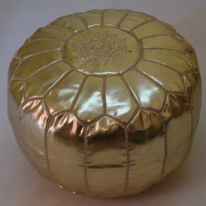 Moroccan faux leather gold poufs, ottoman floor round pouf home decor moroccan pouf leather foostool furniture floor pouf handmade pouf