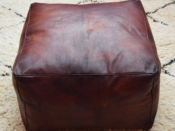 BEST OFFER 20% OFF !!! Free Shipping Moroccan leather, ottoman square tan with oil pouf, square handmade footstool