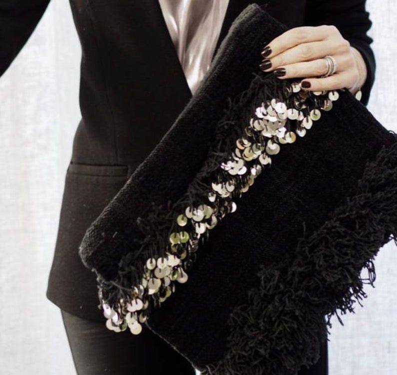 Black handira Moroccan wedding blanket clutch bag