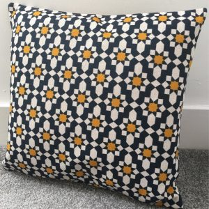 """Mid-April delivery* Dark Blue and Mustard Yellow moroccan tiles geometric cushion cover 60 x 60cm 24 x 24"""" cotton linen double-sided"""