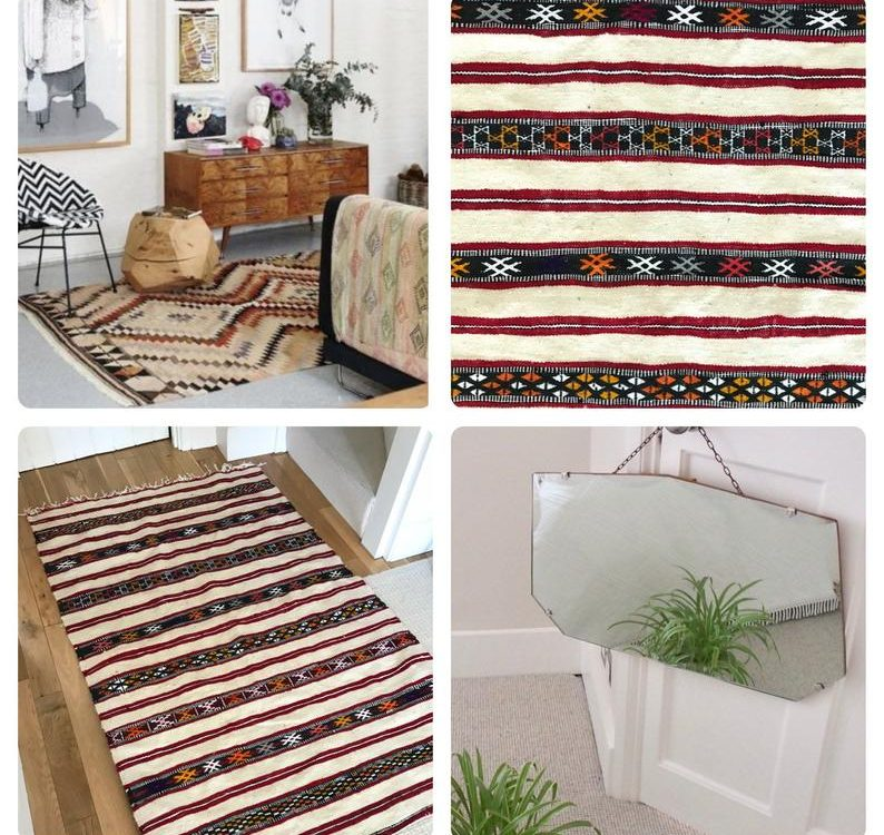 Ethnic Hand woven Kilim Heavy Weight 100% Wool Multicoloured Stripe Red Orange Natural Rustic Moroccan Rug 100cm x 160cm