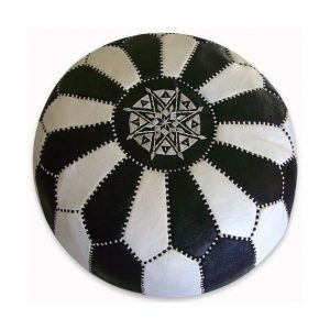 Handmade Moroccan Leather pouf,Floor Pouf, pouffe,Moroccan Ottoman Leather pouf,wedding gifts,Moroccan Leather Pouf Black and White Stripes