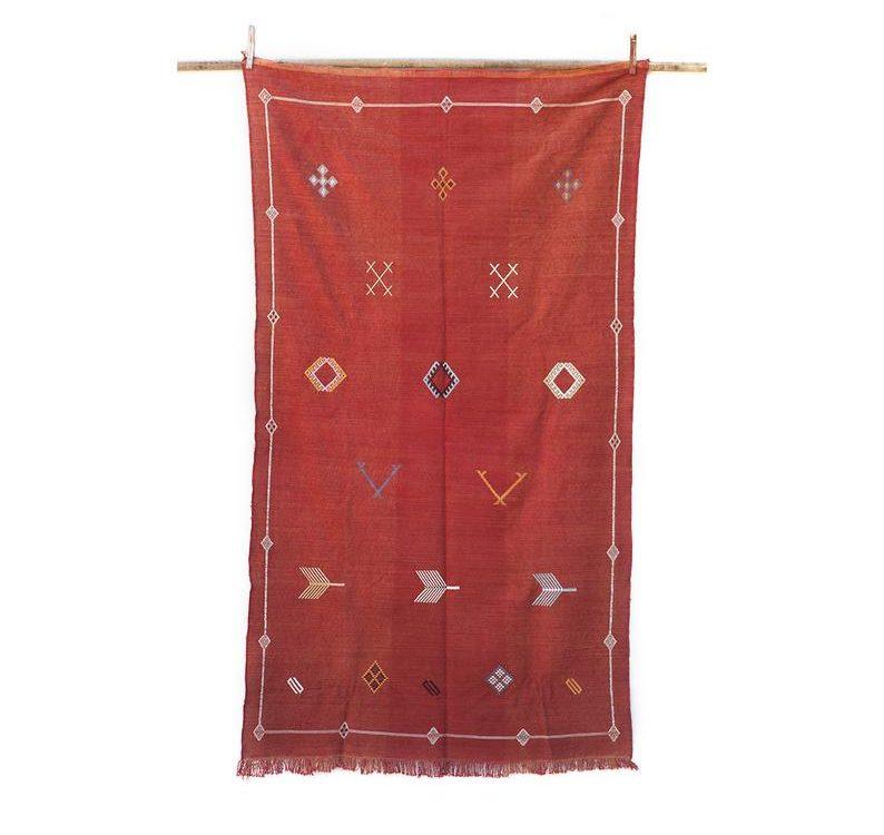 4ft 8in x 7ft 7in / Red Moroccan Sabra Kilim