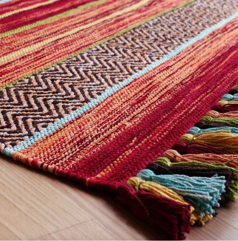 Red Kilim Rug, Striped Moroccan Rug, Traditional Handmade Kilim, Tribal Rug, Large Area Mat, Moroccan Living Room, 200x285 cm