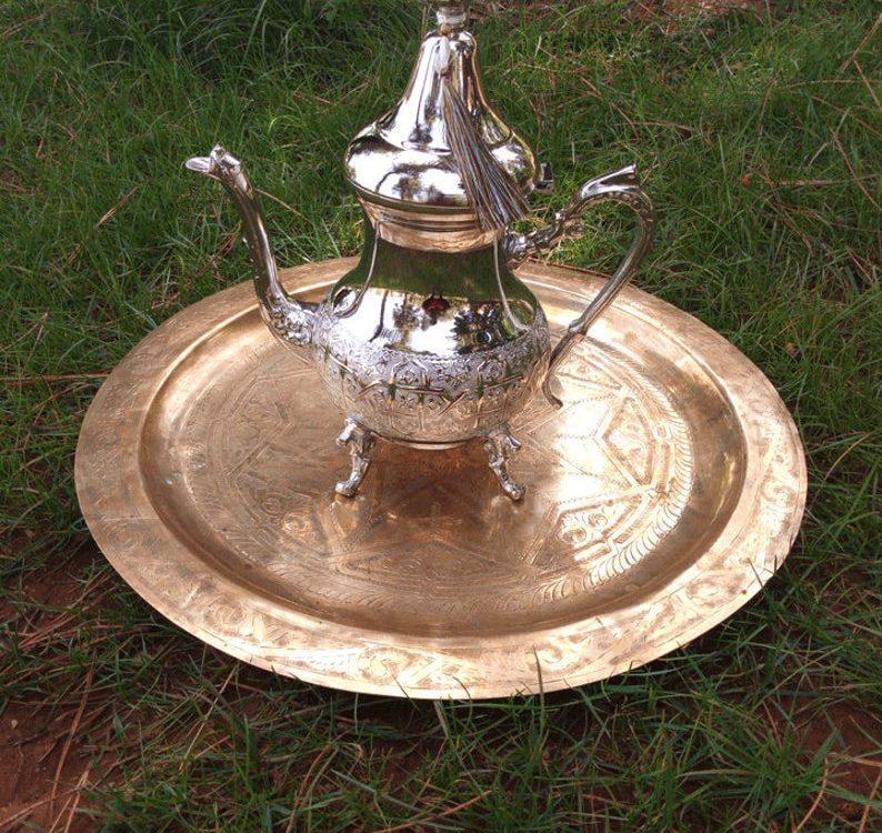 Moroccan gold teapot , Moroccan silver Teapot ,Handmade teapot , black Friday