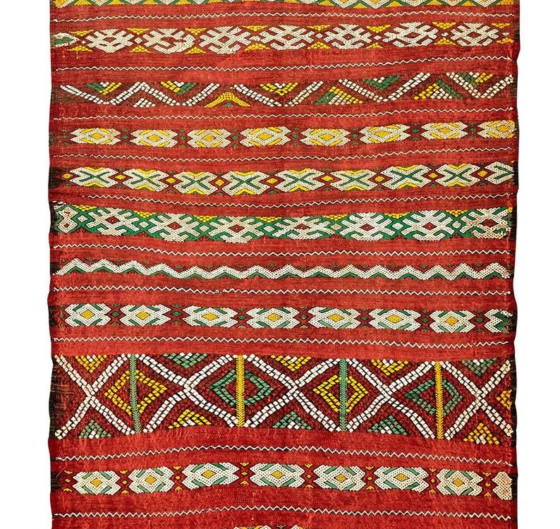 Moroccan Vintage Kilim Rug Pure Wool Handwoven in Morocco Flat Weave Kelim Large Carpet 180x100cm 6 ft x 3.3 ft. (Ref. A)