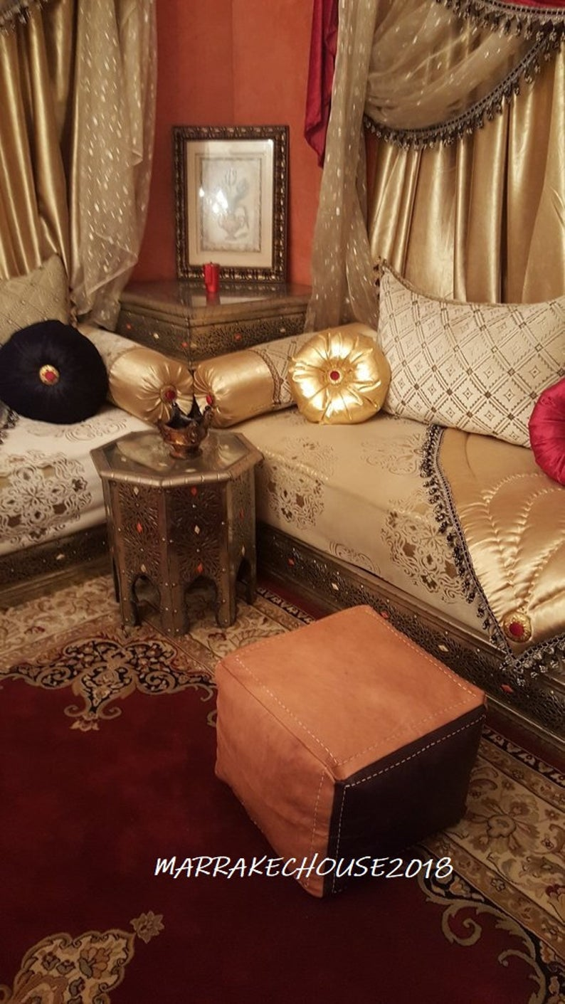 Amazing Moroccan Handmade Leather pouf, Square Leather Pouf, Moroccan Ottoman Dark Brown / Light Brown pouf