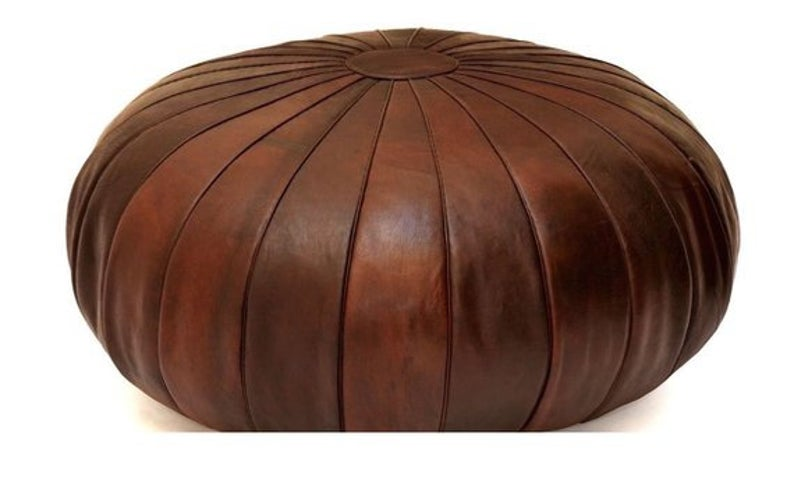 Handmade Moroccan Round Stunning Leather Pouf, Moroccan Ottoman Leather Pouf, Pouffe, Pouf Footstool, wedding gifts, Moroccan Pouf Ottoman