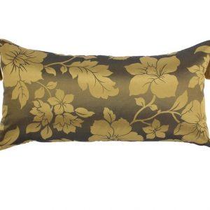 "Moroccan Satin Cushion Pillow Cover in a beautiful gold copper flower design handmade sabra silk tassels 70 cm x 35 cm / 27.5"" x 14"" (CGC1)"