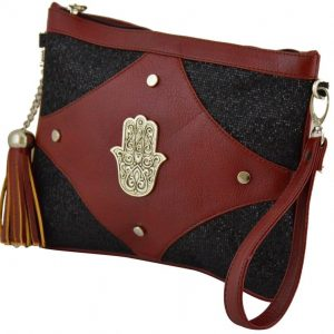 Moroccan Hand Made Embroidered Clutch Hand of Fatima Clutch Burgandy Wallet Bag Exquisite