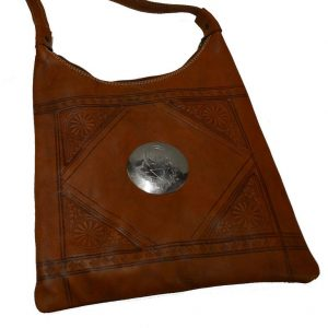 Moroccan Bags and Purses Hand Made Leather Shoulder Bag Brown