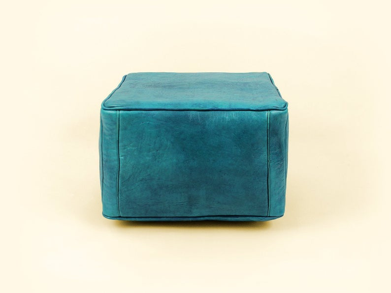 Turquoise Blue Leather Pouf, Moroccan Leather Pouf, Leather Ottoman, Leather Chair, Moroccan Leather Ottoman, Turquoise Blue Ottoman