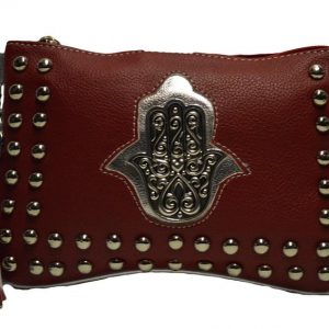 Handmade Moroccan clutch cosmetic bag organizer purse wallet faux leather makeup bag bohemian purse Hand of Fatima Burgundy