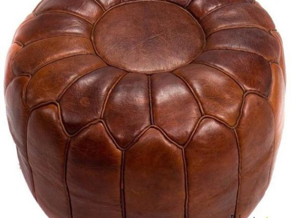 Pouf Luxury Pouf Brown darker leather Moroccan POUF leather no smell, Leather Pouf ottoman pouf moroccan leather