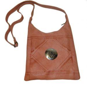 leather shoulder bag pink