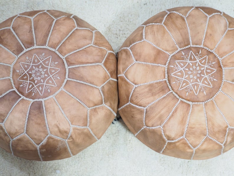set of two Moroccan pouf leather handmade poufs/ustuffed ottoman/Moroccan style