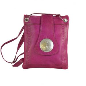 Moroccan Bags and Purses Hand Made Leather Shoulder Bag Magenta