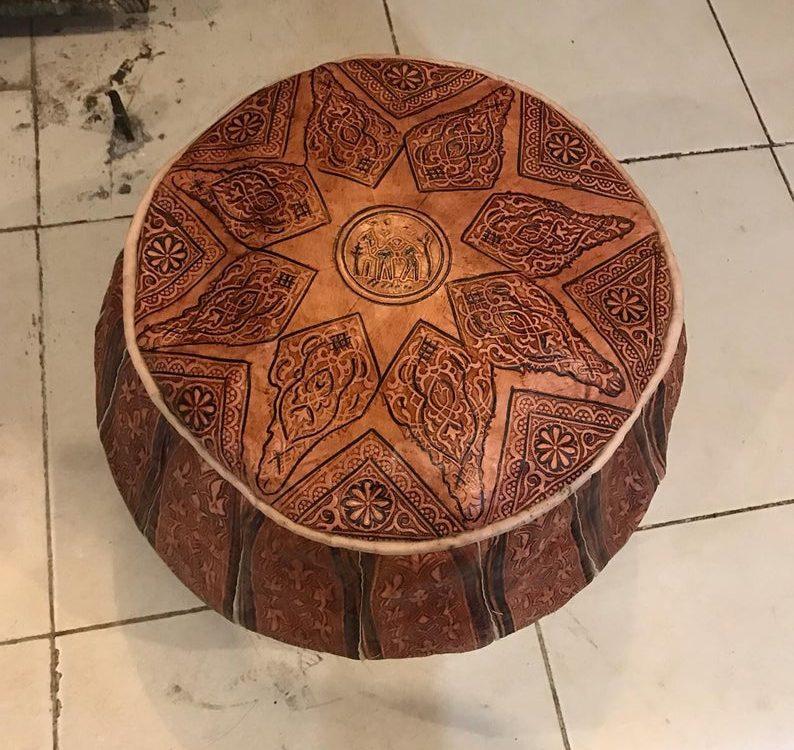 Moroccan Tan Leather Pouf,moroccan leather pouf.Unique handmade Moroccan Tan Leather Pouf.