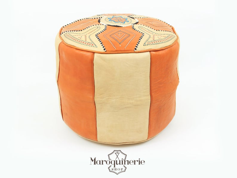 Orange Leather Pouf, Moroccan Leather Pouf, Leather Ottoman, Leather Chair, Moroccan Leather Ottoman, Orange Ottoman