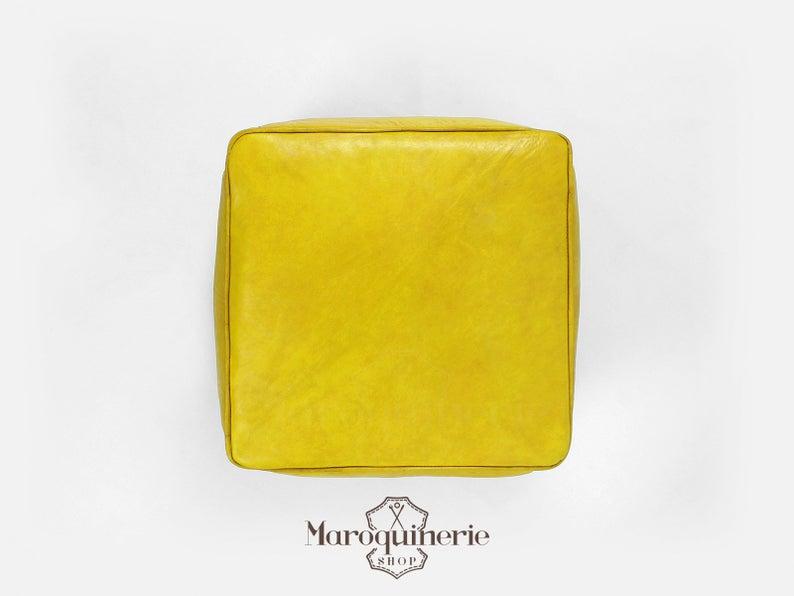 Yellow Leather Pouf, Moroccan Leather Pouf, Leather Ottoman, Leather Chair, Moroccan Leather Ottoman, Yellow Ottoman