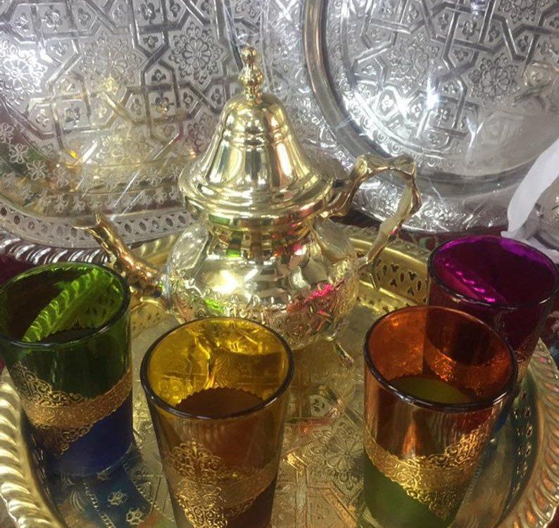 Moroccan Golden Tea Set Handmade Tea Pot,Tea Cups EngravedTea Tray,Set Of 4 Cups
