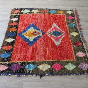 Multicolor Moroccan Boucherouite Rug