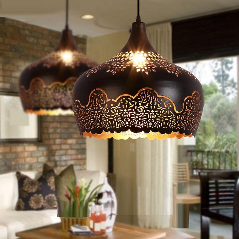 Moroccan Style Pendant Lights, Metal Pendant Light, Shade, Iron Pendant Lights, Farmhouse, Industrial, Country, Comes With E27 Bulb