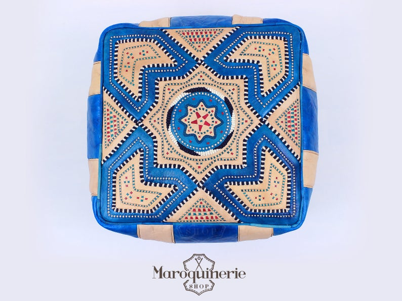 Blue Leather Pouf, Moroccan Leather Pouf, Leather Ottoman, Leather Chair, Moroccan Leather Ottoman, Blue Ottoman