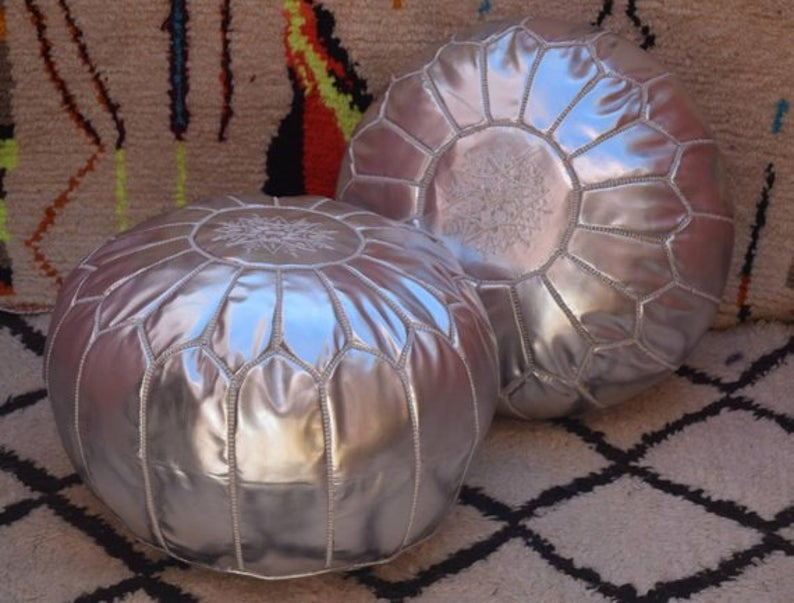 50% OFF,SET OF 2 Silver poufs , Moroccan pouf, Berber pouf, ottoman pouf, Moroccan ottoman leather pouf,leather pouf,chairs,living room,gift