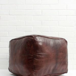 Square Handmade Moroccan Pouf, Genuine Leather Ottoman, Natural Tan Color Pouffe unstuffed Footstool
